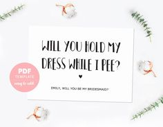 Bridesmaid card. Funny bridesmaid template card. Made of honor card. Bridesmaid proposal editable PDF template for instant download. BMP001 by PenguinGraphics on Etsy