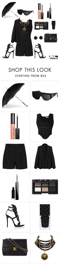 """""""Blackout"""" by theglamcorridor ❤ liked on Polyvore featuring Alexander McQueen, Chanel, Bobbi Brown Cosmetics, Givenchy, Yves Saint Laurent, NARS Cosmetics, Giuseppe Zanotti, Gucci and Melissa Joy Manning"""