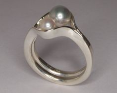 Double Pearl Sterling Silver Ring / Natural Akoya Pearl Cocktail Ring Size 6