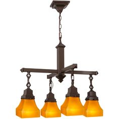 26 Inch W Bungalow Frosted Amber 4 Lt Chandelier