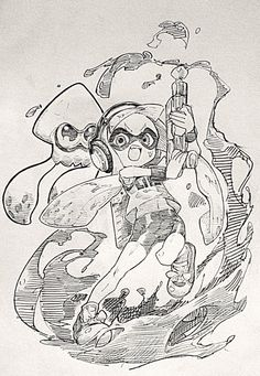 You killed it out there, Agent by makoshoku Nintendo Splatoon, Splatoon 2 Art, Drawing Sketches, Drawings, Pokemon, Anime Sketch, Video Game Art, Fanart, Drawing Reference
