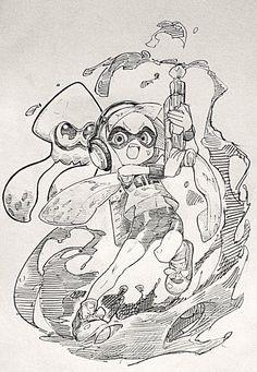 持ってないけどスプラトゥーン娘描いた。 頭身と言い武器と言いKNDハチャメチャ大作戦思い出す