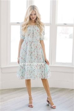Mint Pink Spring Floral Modest Summer Dress, dress with sleeves, Church Dresses, dresses for church, modest bridesmaids dresses, modest office clothing, affordable boutique dresses, cute modest dresses, cute modest clothes, summer dress