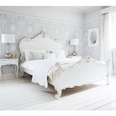 Provencal Sassy White French Bed Detail footboard