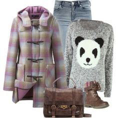 winter outfit. Love the panda sweater