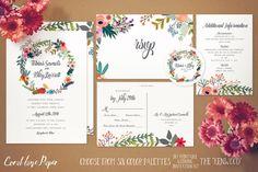 Boho Wedding Invitation Wreath Wedding by CoralLanePaper on Etsy