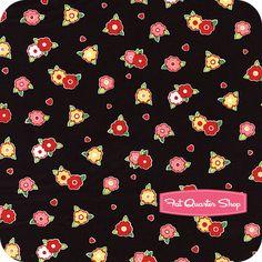Pam Kitty Love Black Small Flowers Yardage SKU# LH12054-BLACK - Fat Quarter Shop