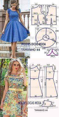 Skirt Patterns Sewing, Sewing Patterns Free, Clothing Patterns, Diy Clothing, Sewing Clothes, Fashion Sewing, Diy Fashion, One Piece Dress, Diy Dress
