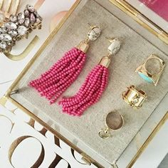 "NWT Hot Pink Beaded Tassel Drop Earrings NWT these earrings will come to you in their own jewelry box for safekeeping. Simple yet dramatic, these elegant tassel earrings will add a pop of color and fun to any outfit. Earrings measure 3"" in length, post back closure, white faux marble stone with a gold-plated base. No Trades & No Paypal. Pictures from Pinterest for styling purposes. Cover Shot: The Shiny Mix The Shiny Bauble Jewelry Earrings"