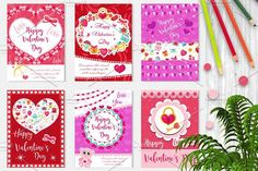 Happy Valentine's Day set poster, invitation, greeting card, background. St. Valentine's Day collection template for your design with space for text, hearts, romantic symbols. Vector illustration #happy
