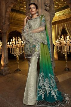 MBROIDERED – Steel & Peacock Green – Libas-e-Khaas