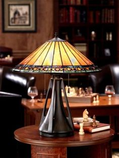 Tiffany style lamps, with simple  architectural shapes, geometric lines, and the use of natural elements, offer warm light.