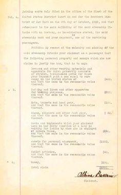 Liability claim of Titanic survivor Albina Bassani against the White Star Line, 1913.