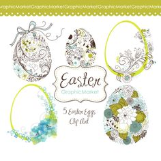 Easter eggs Clip Art. easter clipart, floral templates, flowers, blue, green. Scrapbooking and card making. Personal or Commercial Use. $4.99, via Etsy.