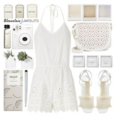 """""""All-in-One: Sleeveless Jumpsuits"""" by barbarela11 ❤ liked on Polyvore featuring Miguelina, Edun, Holga, Under One Sky, Fuji, Bobbi Brown Cosmetics, Kitchen Craft and Faber-Castell"""