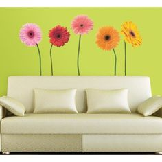York Wallcoverings RMK1279GM RoomMates Gerber Daisies Peel & Stick Wall Decals Multi Home Decor Wallpaper Wall Decals