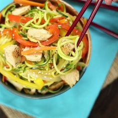 A carb-light take on chow mein - Use zucchini noodles instead! The sesame chicken and bell peppers bring all the flavor.