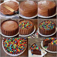 Paso a paso de torta de m&m