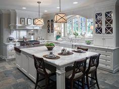 White Granite Countertops. White Kitchen Cabinets. White Kitchen.