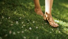 the cool grass on bare feet