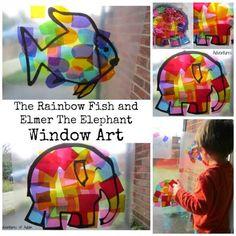 Window Art Rainbow Fish and Elmer
