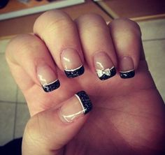 Absolutely doing this next time i get my nails done nails absolutely love my nails little bow on my ring fingers with black sparkly french tips prinsesfo Choice Image