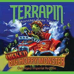 Cerveja Terrapin Oaked Big Hoppy Monster, estilo Imperial / Double IPA, produzida por Terrapin Beer Company, Estados Unidos. 9.1% ABV de álcool.
