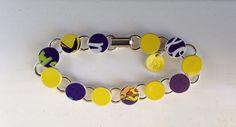 "Purple and yellow Bracelet, Recycled Plastic Giftcard Bracelet, 8"" Circle Charm Bracelet on Etsy, $10.00"