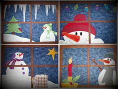 Set of 4 appliqued snowman placemats.