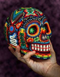 Colorful Beaded Skull From Mexican Traditional Huichol Bead Art,. Stock Photo, Picture And Royalty Free Image. Mexican Skulls, Mexican Folk Art, Art Perle, Sugar Skull Art, Sugar Skulls, Day Of The Dead Skull, Skull Painting, Candy Skulls, Skull Decor