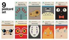 Studio Ghibli film art re-imagined as Penguin book covers - 9 postcard set $15