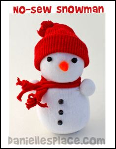 Sock Snowman - No Sew Sock Snowman Craft for Kids from www.daniellesplace.com