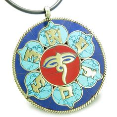 Amulet Tibetan Mantra Om Mani Padme Hum Buddha All Seeing Eye Magic Medallion Lotus Pendant Necklace