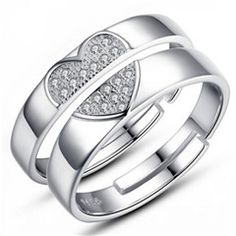 Creative Heart Ring in Silver Anniversary Ring Gift for Her