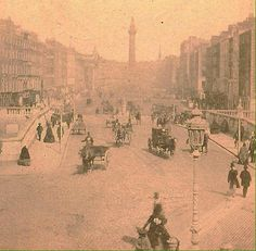 An early print of O'Connell Bridge and Street Formally known as Sackville Street and before that Drogheda Street Ireland Pictures, Old Pictures, Old Photos, Vintage Photos, Castles In Ireland, Ireland Homes, Dublin Street, Dublin City, Michael Church
