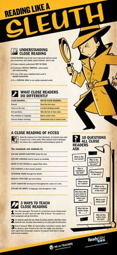 Great poster on #closereading!      Close reading poster for students    Close reading poster for teachers    from We are Teachers     (via arbordalepublishing)