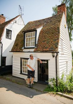 The Nutshell is the smallest cottage in West Mersea, Essex. Grade II historic property of one bay, one storey and attic. Timber framed, weatherboarded, gambrel roofed and pegtiled. One chimney rear slope south. Plain door on ground storey and one pair of Gambrel Roof, English Country Cottages, Historic Properties, Thatched Roof, Historic Homes, Play Houses, Architecture Details, House Styles, Walk Pass