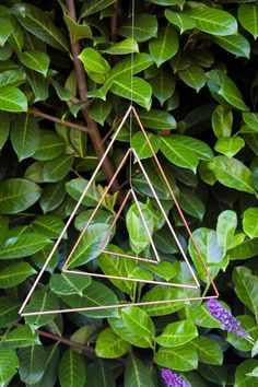 DIY copper triangle mobile, hang it either indoors or outside.