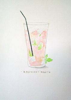 Cocktail Illustration Raspberry Mojito by JeVais on Etsy