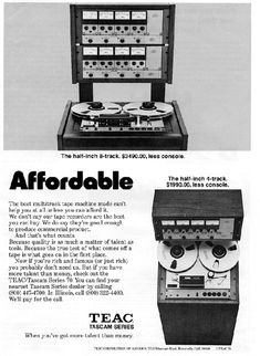 "1975 ad for the Teac Tascam Series 70 1/2"" 8 track professional reel to reel tape recorder  in Reel2ReelTexas.com's vintage recording collection"
