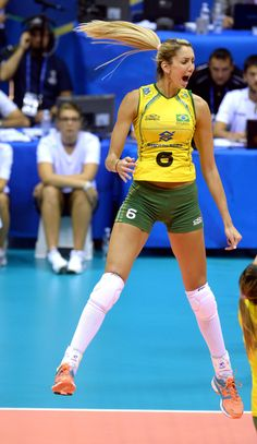 Thaisa Menezes Photos - Thaisa Menezes of Brazil celebrates during the FIVB Women's World Championship pool B match between Canada and Brazil on September 2014 in Trieste, Italy. - Canada v Brazil Volleyball Poses, Female Volleyball Players, Women Volleyball, Beach Volleyball, Brazil Volleyball, Girls Volleyball Shorts, Girls Golf, Gymnastics Girls, Brazil Women