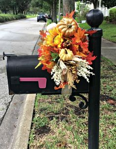 Decorate Your Mailbox for Fall with this simple DIY - faux floral - fall floral - outdoor decorating - fall decor - fall diy