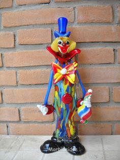 CLOWN in MURANO Mischfarben Glass 40 Cm By MORBIDEIDEE Venedig MURANO Art.013