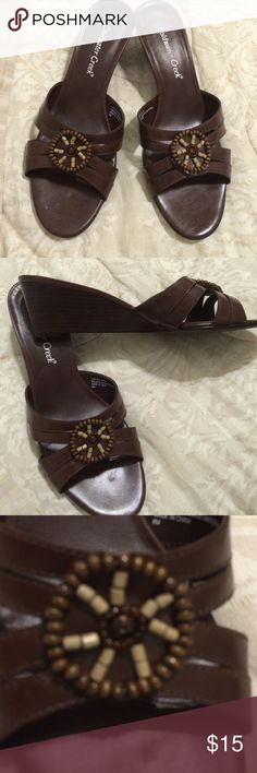 Brown beaded wedge Beautiful Like New Wedges by Cold Water Creek size 8 1/2 Coldwater Creek Shoes Wedges