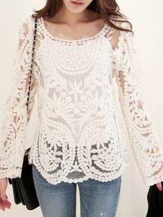 To find out about the Hollow Crochet Lace Blouse at SHEIN, part of our latest Women Tops ready to shop online today! Passion For Fashion, Love Fashion, Fashion Outfits, Womens Fashion, Summer Tunics, Summer Tops, Crochet Blouse, Crochet Lace, Crochet Tops
