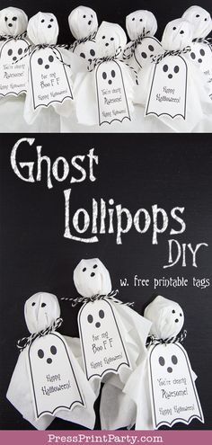GHOST LOLLIPOPS w. FREE HALLOWEEN TAGS- Free printable Halloween tags for your ghost lollipop craft. Easy & fun DIY. Great gift idea to give to classmates at school. Perfect favors for your Halloween party. Free ghost template. Fun handmade Halloween treats. You're clearly the best, Happy Halloween, For my Boo FF. #halloween #tags #diy #craft by Press Print Party!
