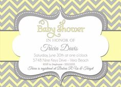 Yellow and gray baby shower chevron invitation print your own baby shower ideas gender neutral filmwisefo Choice Image