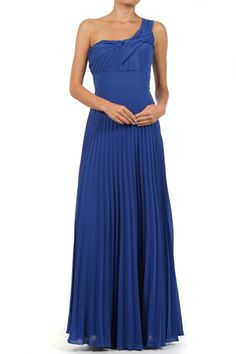 Blue Solid Pleated One Shoulder Full Length Dress With Fabric Knot Detail
