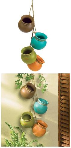 Beautiful Gifts & Decor Dangling Mini Ceramic Pot Set Like the color combo RP Wall Art Crafts, Art Wall Kids, Succulent Display, Painted Clay Pots, Butterfly Wall Art, Pot Sets, Unique Gardens, Garden Crafts, Beautiful Gifts