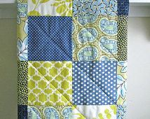 Modern Baby Quilt -  Blue Paisley - Gender Neutral - Crib Quilt in Navy, Citron, Blue, and Ivory - Flannel or Minky Back